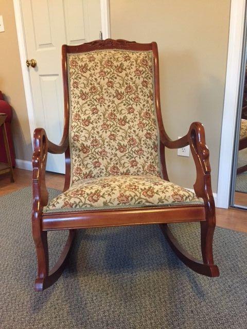 Statesville Mahogany Rocker Rocking Chair Upholstered ...