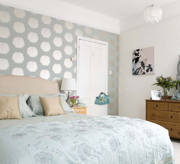 Bedroom wallpaper ideas.. the wallpaper creates a fabulous focal point in the bed wall...