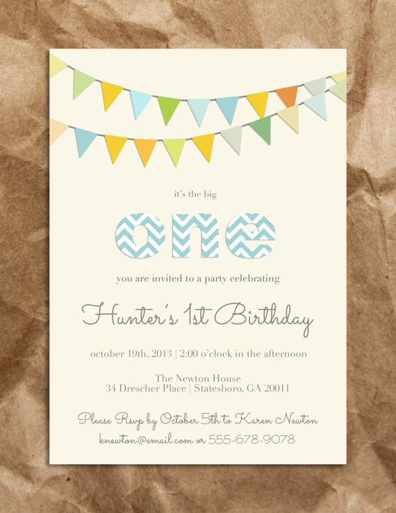 Cute and Sweet Boy's 1st Birthday Invitation on Etsy, $15.00