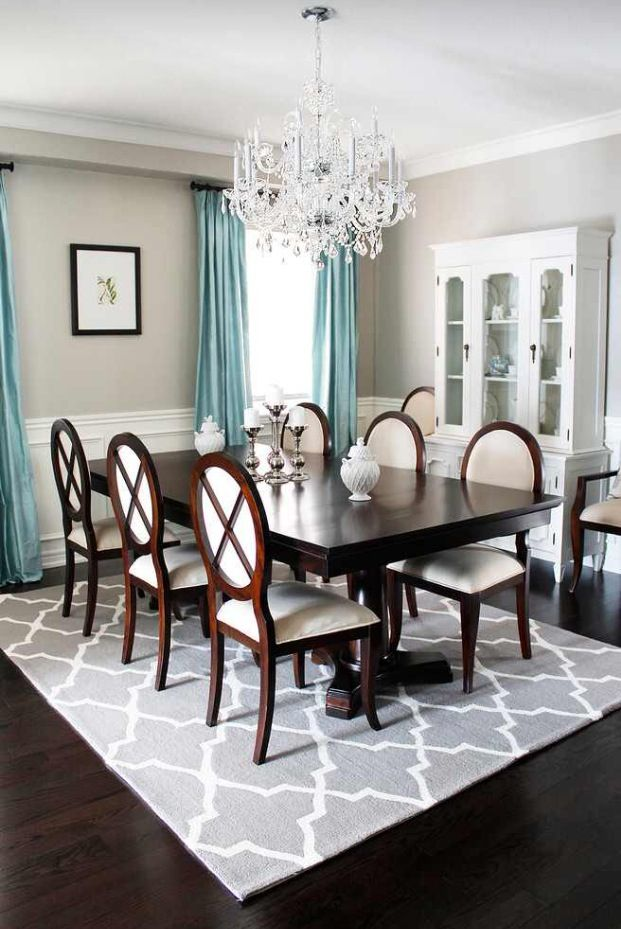 AM Dolce Vita Dining Room Chandelier Reveal Crystal Trellis Area Rug Double Pedestal Oval Back Louis Chairs