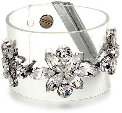 Jewel Floral Clear PVC Cuff Bracelet