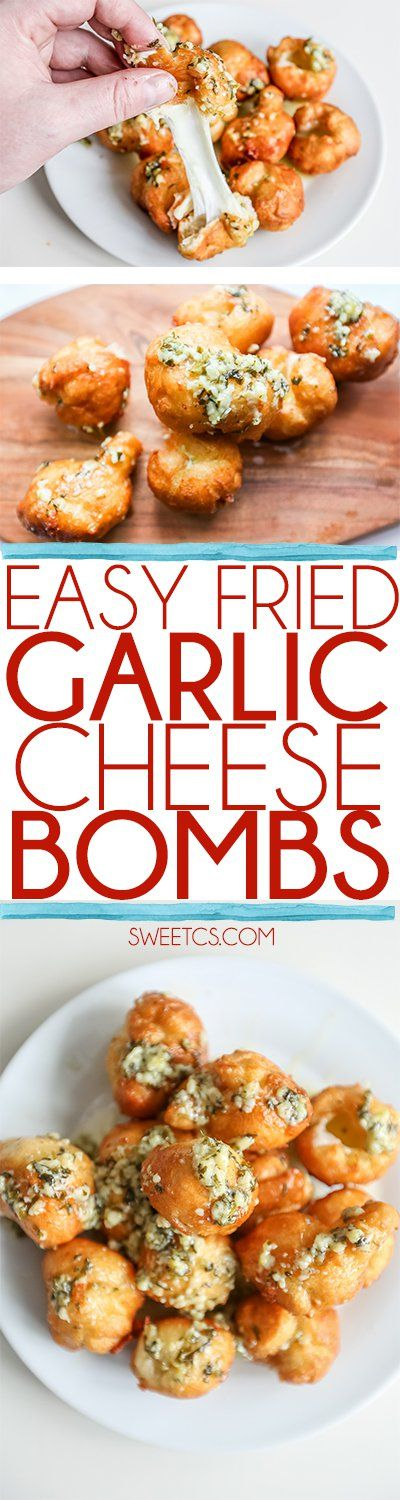 Easy Fried Garlic Cheese Bombs
