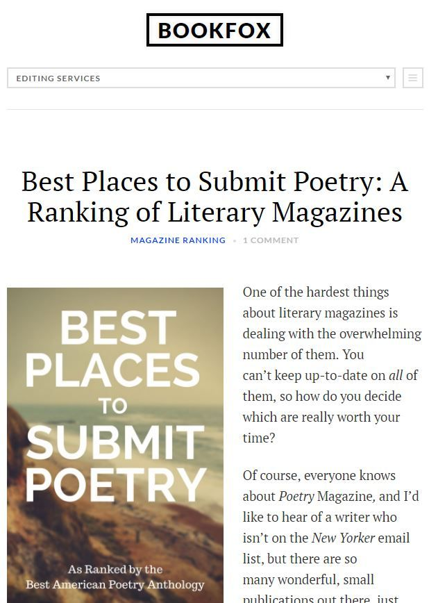 Thanks to John Fox for putting together this amazing list of Best Places to Submit Poetry. He actually went through 5 years worth (2011 – 2015) of the anthology The Best American Poetry to se…