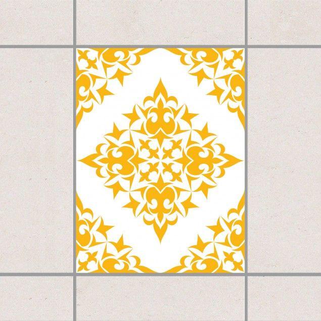 #Fliesenaufkleber - Fliesenmuster White Melon Yellow 20x15 cm - Fliesensticker Set #Muster #Pattern #Paisley #Struktur #Designs