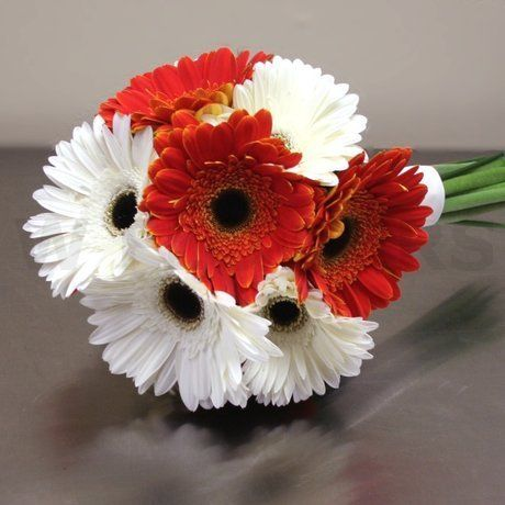 W Flowers product: Gerbera Bridal Bouquet in white and orange