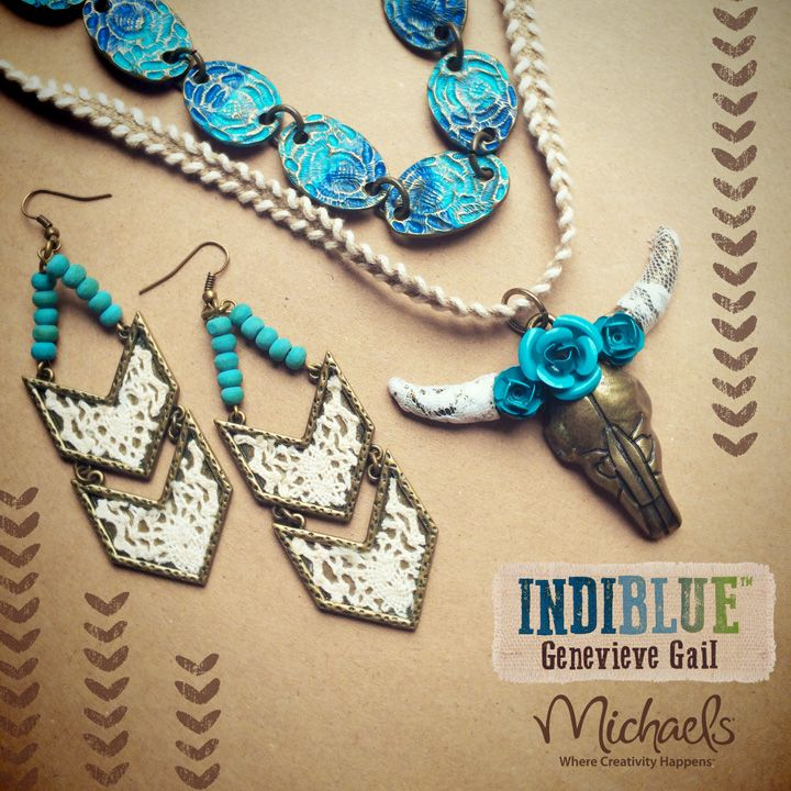 INDIBLUE jewelry collection by Genevieve Gail exclusively at Michaels Arts and Crafts Stores.  Boho Cow Skull Necklace and Lace Arrow Earring Set. #Indiblue #Genevieve #Gail #Michaels #Jewelry #Boho #Tribal #Vintage #Inspired #Style #Fashion #Crafts #Cow #Skull #Arrow #Lace