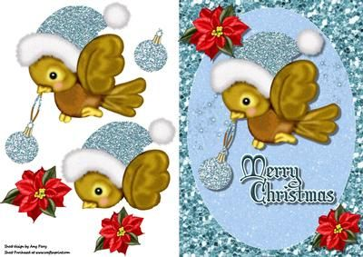 "Cute Christmas Bird With Blue Santa Hat on Craftsuprint designed by Amy Perry - Cute Christmas Bird With Blue Sant Hat in lovely blue glitter frame with corner flowers and ""Merry Christmas"" wrting also has decoupage - Now available for download!"