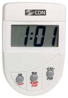 This timer counts down with big digits displaying the last minute in seconds and ends with a loud and clear alarm.