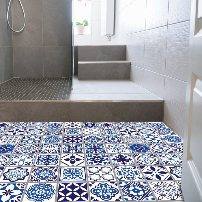 Waller 120x60 Cm Mosaic Tile In Blue White In 2020 Moroccan Blue Self Adhesive Floor Tiles Mosaic Tiles