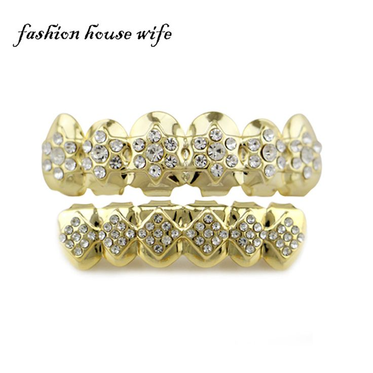 Fashion House Wife Cheap Flower Shape Crystal TOP teeth Grillz Geometry Bling Bottom Tooth Caps Halloween Jewelry NL0121