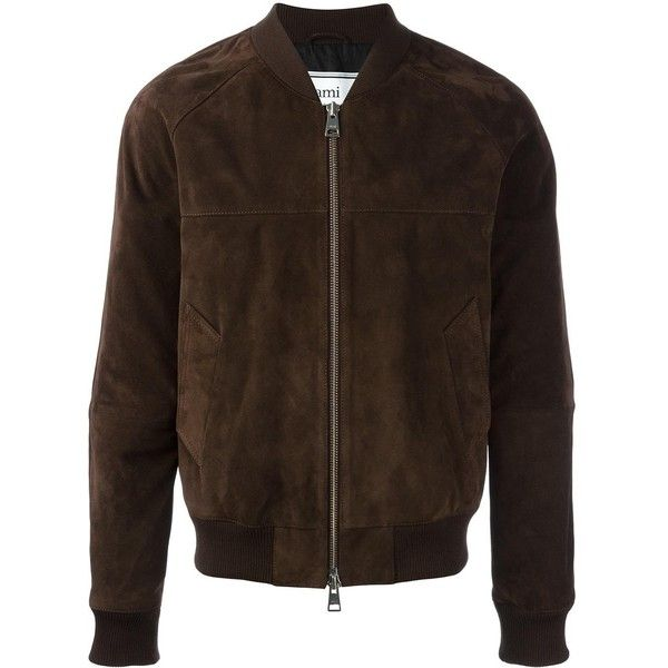 Ami Alexandre Mattiussi suede bomber jacket ($1,385) ❤ liked on Polyvore featuring men's fashion, men's clothing, men's outerwear, men's jackets, brown, mens suede leather jacket, mens brown jacket, mens suede jacket, mens brown suede jacket and mens suede bomber jacket