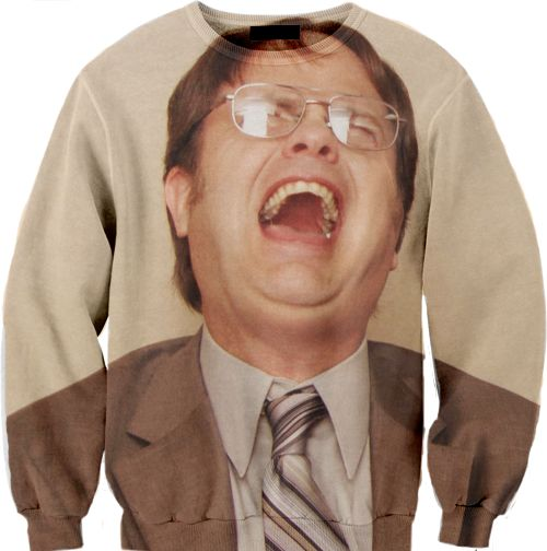 I absolutely 100% need this Dwight Schrute Sweater for fall.  It's all occasion.  He could be laughing OR crying!