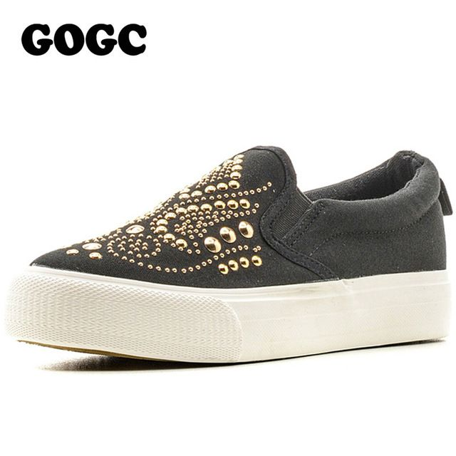 Daily Sale $15.95, Buy GOGC 2017 Studded Women Shoes Stud Canvas Shoes Women Causal Shoes Comfortable Thick Bottom Slip on Flats Shoes Women Slipony