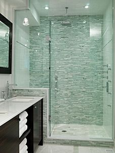 In the next few (3-4?) years we'll be expanding our downstairs powder room into a full guest bath. I want this shower, only maybe with blue tiles instead of the sea green? Though, this green is pretty fabulous. And I won't have a vanity, just a pedestal sink or lavatory.