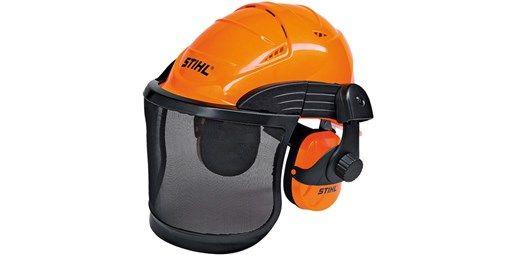 Casco ADVANCE. Combinación de casco, pantalla y protectores de oídos con un diseño moderno. Pantalla de rejilla metálica oscilante, múltiples orificios de ventilación, gran protección contra golpes y visera de gran superficie. Múltiples posibilidades de ajuste.