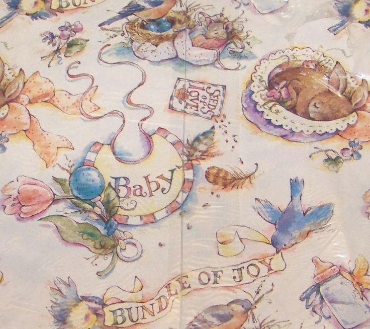 Vintage New Baby Gift Wrap Baby Shower Wrapping Paper Bunnies Birds Rabbits #GibsonGreetings