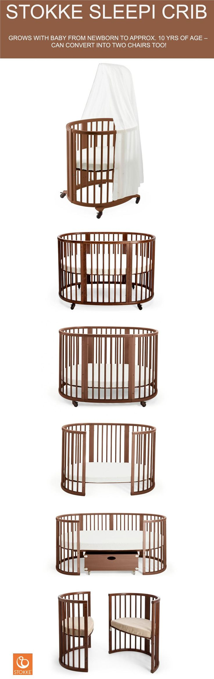 Stokke Sleepi Convertible Crib grows with your child – comes in white, natural & walnut wood, 100% beech wood, sustainable and modern design for your baby