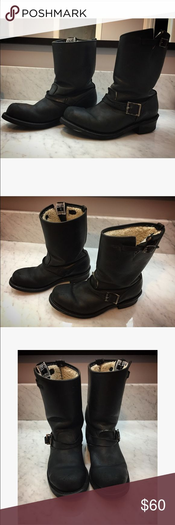 frye engineer boots lined with shearling frye engineer boots lined with shearling, leather, frye boots last forever, size 8, Frye Shoes Combat & Moto Boots