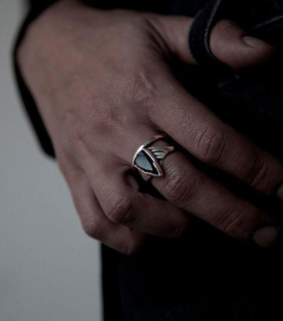 Pijl Ring Faceted Black Onyx Ring set op solide sterling