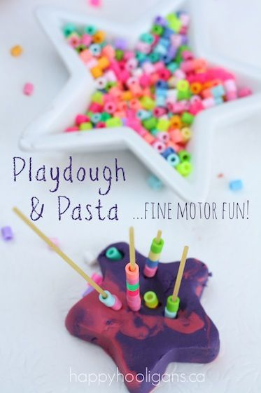 Playdough and Pasta for fine motor development - happy hooligans