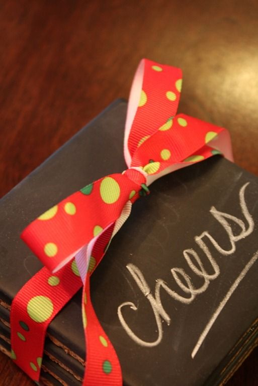 Spray tiles with chalkboard paint for an easy hostess gift.