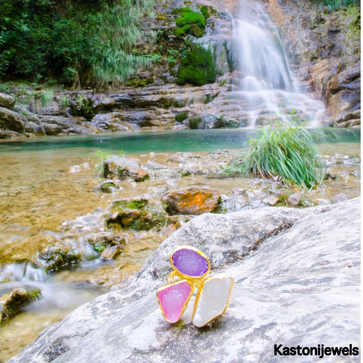 Beautiful druzy  stones, travelled from around the world and became a ring photographed near on a waterfall in mount Olympus.