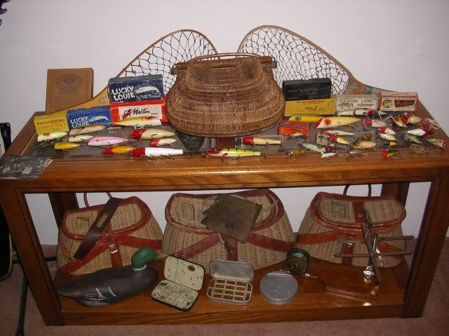 Collection of rods, reels, creels, lures , plus pretty much anything old and fishing related .