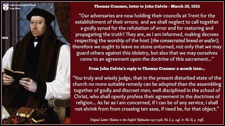 Thomas Cranmer - Letter to John Calvin on Trent