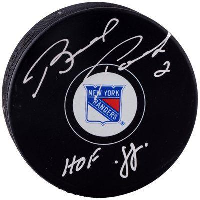 Brad Park Boston Bruins Autographed Logo Puck with HOF 88 Inscription