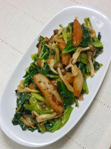 タアサイとさつま揚げの生姜炒め