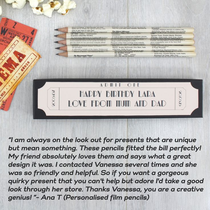 """I am always on the look out for presents that are unique but mean something. These pencils fitted the bill perfectly! My friend absolutely loves them and says what a great design it was. I contacted Vanessa several times and she was so friendly and helpful. So if you want a gorgeous quirky present that you can't help but adore I'd take a good look through her store. Thanks Vanessa, you are a creative genius! "" - Ana Toole Personalised film pencils"