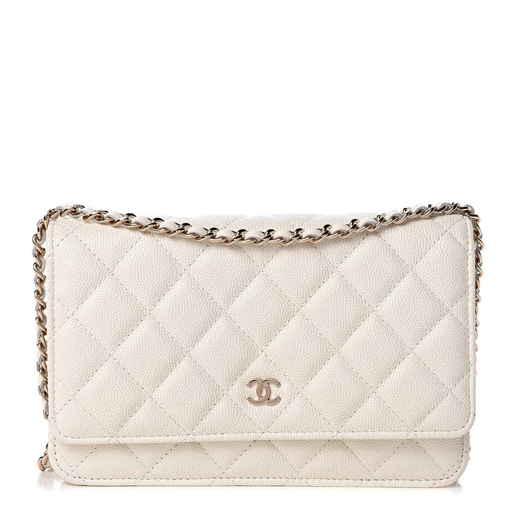CHANEL Caviar Quilted Wallet On Chain WOC White em 2020