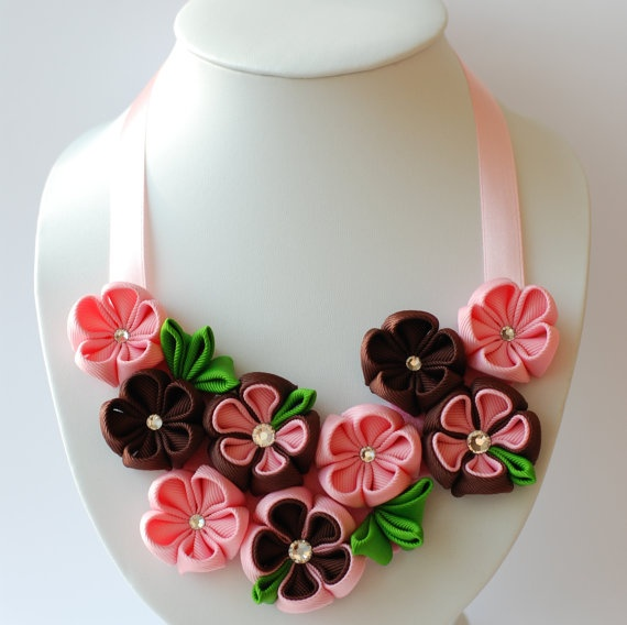 Flower bib necklace Kanzashi Brown Pink Green by PetalGirly