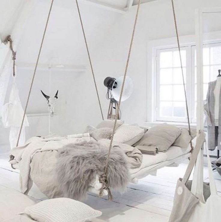 Hovering bed hung by rope