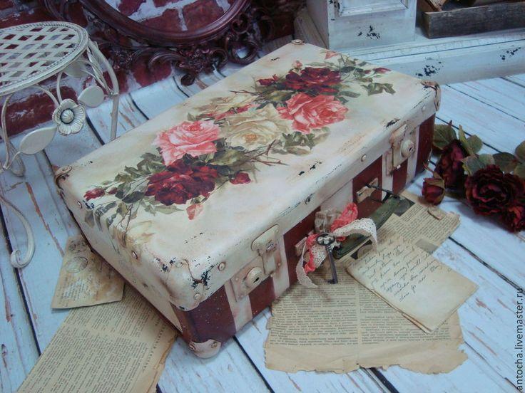 """Купить Чемодан большой """"Ее величество роза"""" - чемодан, саквояж, короб, ретро, винтаж, винтажный стиль"""