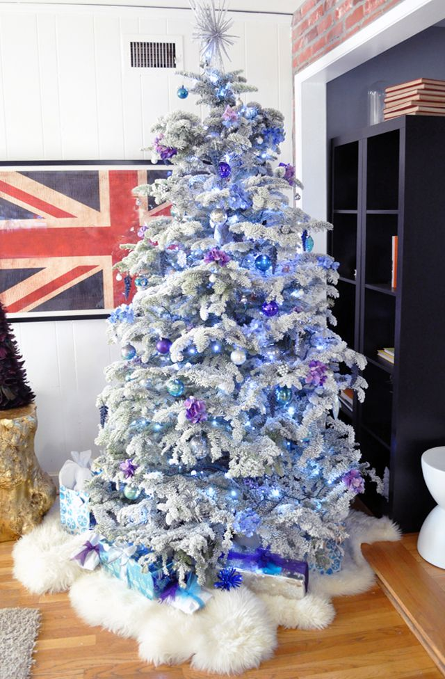 white christmas tree with purplevioletblue ornaments and presents have yourself a purple little christmas pinterest christmas christmas tree and