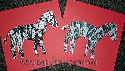 Zebra craft. Could even make cardboard/heavy cardstock white zebra; let students wrap black yarn for stripes.  Paint stripes, put white zebra on tray, dip marble in black paint and roll marble back and forth over zebra.  Can use black yarn for mane.