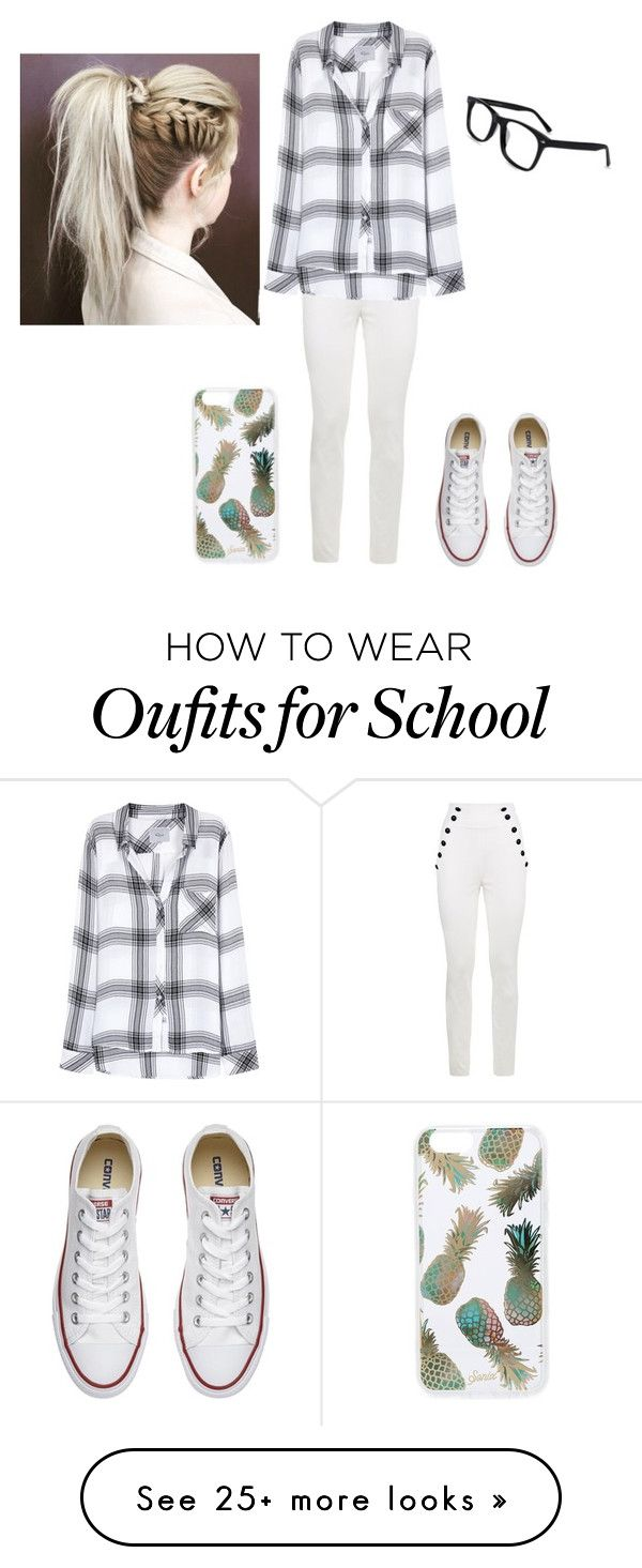 """""""Just a school day"""" by abbyisamazing455 on Polyvore featuring Tommy Hilfiger, Rails, Converse and Sonix"""