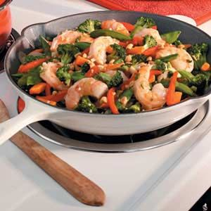 Easy Shrimp Stir Fry Recipe.  Basically used this recipe for the cornstarch/soy sauce ratio.  Then varied it my own way from there.  Used low sodium soy sauce so needed to add more spices than recommended in the recipe for flavor.