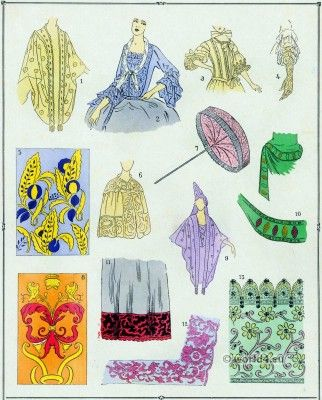 Embroideries, Lace Louis XIV fashion. French Costume History.
