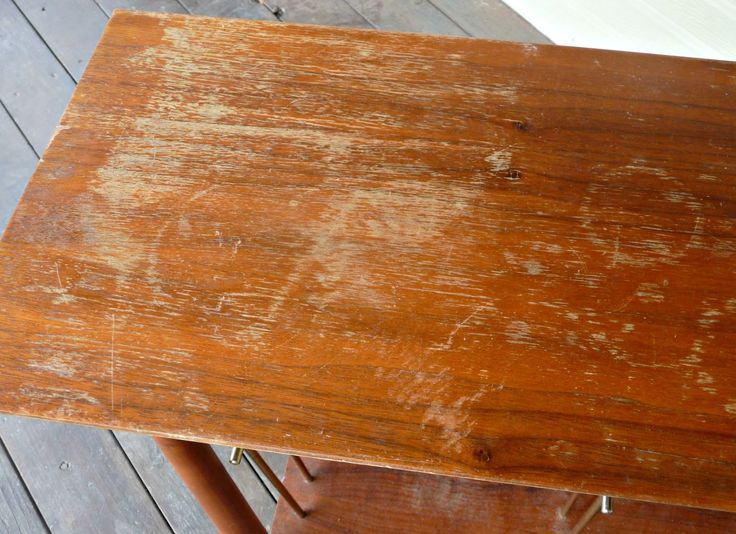 DIY fix scratches in wood furniture mixture of 1/4 cup vinegar and 3/4 cup olive oil and magically got rid of the scratches in a piece of thrift store furniture.