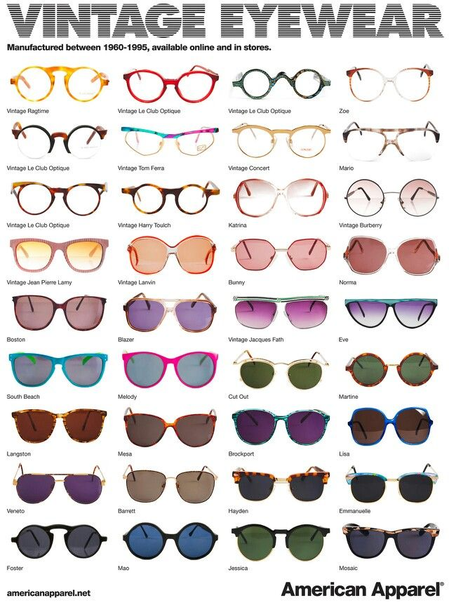 Types Of Glasses Frames Shapes : Types of sunglasses #vintage Gafas de sol Pinterest ...