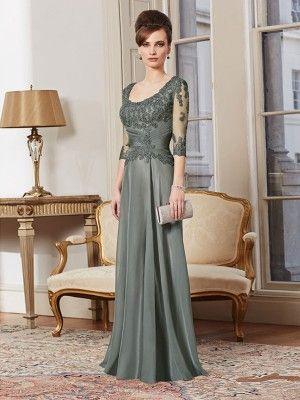 Grey A-line / prinsesse Square Half Sleeves Lace gulvlange chiffon mor til bruden kjoler for 648,15AU$