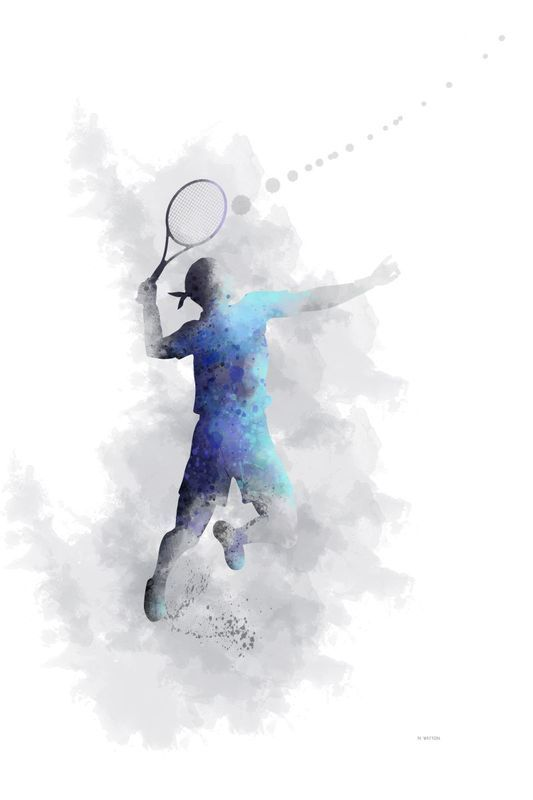 """""""Tennis Player 1"""" by Marlene Watson. Digital Art (Giclée) on Paper, Subject: People and portraits, Urban and Pop style, From a limited edition of 100, Signed and numbered on the front, This artwork is sold unframed, Size: 45.72 x 60.96 x 0.25 cm (unframed), 18 x 24 x 0.1 in (unframed), Materials: High quality archival art print paper"""