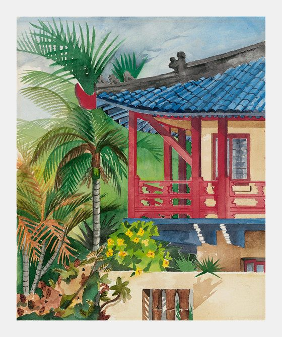Chinese village painting, chinese tropical painting, chinese balcony, watercolor painting by VerdeCanyonStudio on Etsy