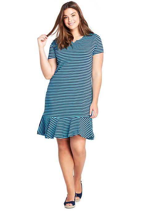 fb7290741c9 Women s Plus Size Short Sleeve Ruffle Hem Tee Shirt Dress