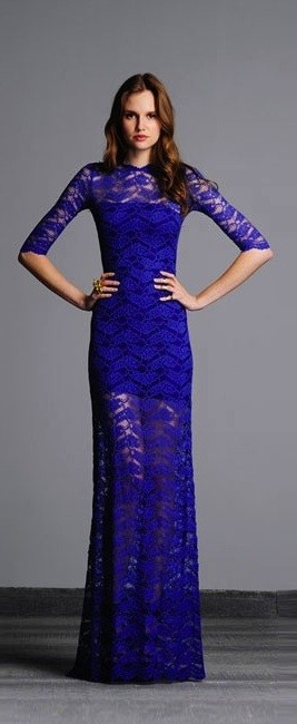 Alexis- Solange Dress. This Open Back Long Lace Dress Features Three Quarter Length Sleeves
