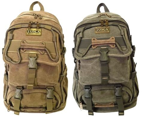 Large Back Pack @ R718 Specs. 1.25 kg, 31 x 18 x 46cm  Code:3695LL22 Features: 16 OZ Canvas, Padded Back Straps, Tosca Air Passage Padding