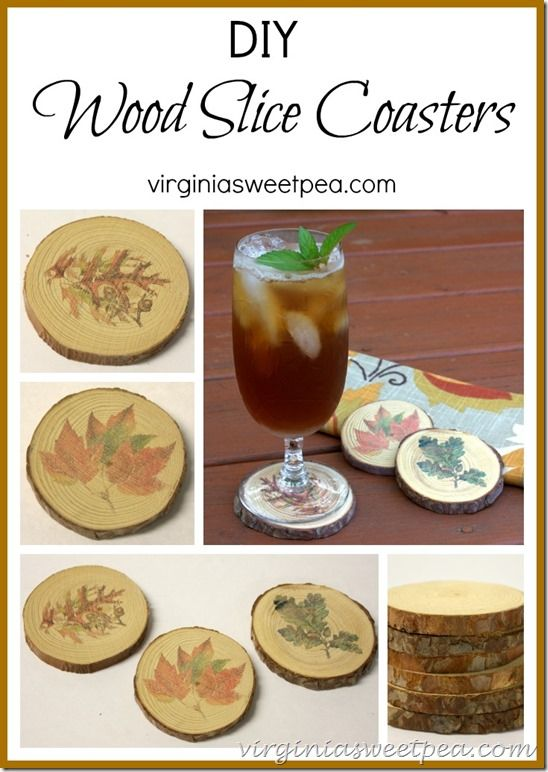 Make DIY wood slice coasters with fall tranfers. These make great decor for your home and it's an easy craft. virginiasweetpea.com