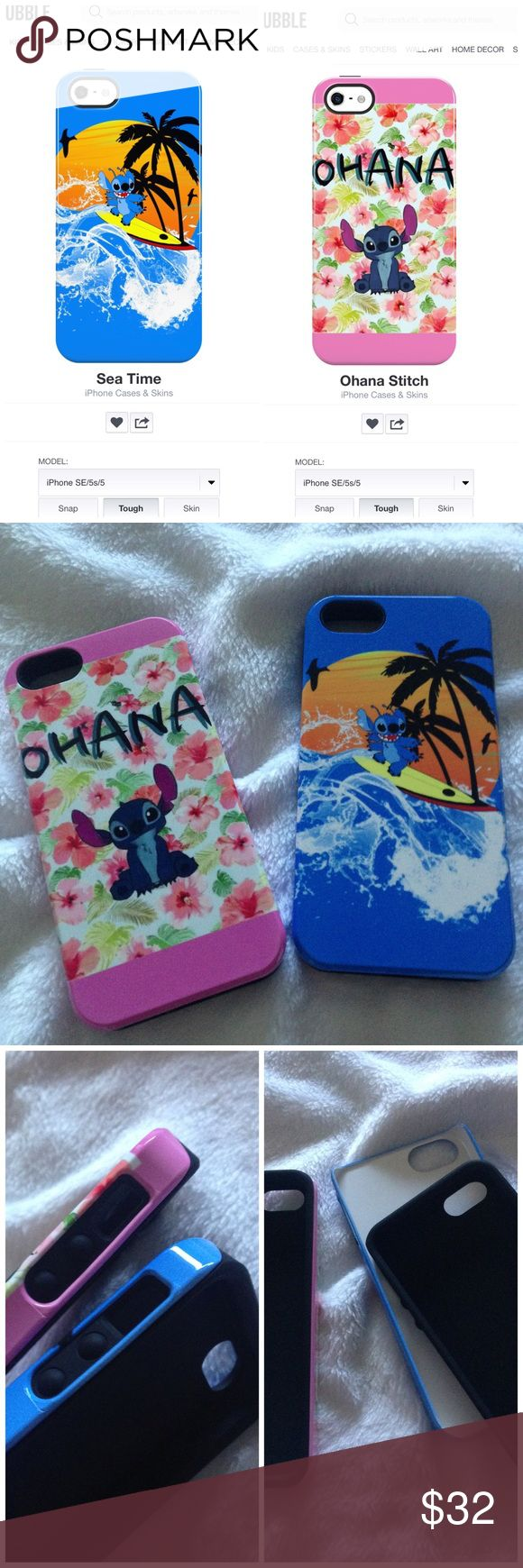 🆕Lilo and Stitch Disney iPhone 5/5s/SE tough case Bundle of two cute iPhone cases for iPhone 5, 5s, or SE, both featuring graphics of Stitch from Disney's Lilo and Stitch. Both cases feature an inner rubber portion and a hard plastic shell for maximum protection of your device. These are both brand new in original packaging from Redbubble and have never been used! (We were sent the wrong order on accident) Normally retailing for $30 each, this is a great bargain. Get both for $32, or each…